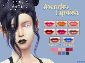 Sims 4 — Yume - Invader Lipstick by Zauma — Hello! New lipstick for females, avaliable on 9 colors with CAS thumbnail.