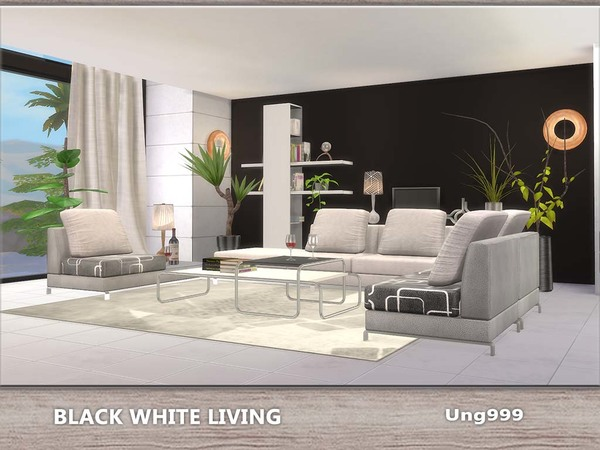 Ung999 39 s black white living for Living room ideas sims 3