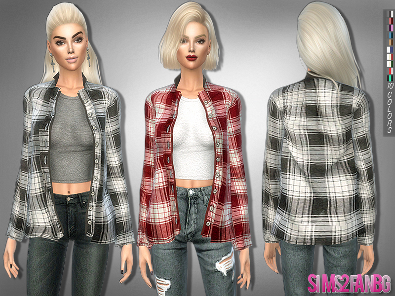 Sims2fanbg S 206 Button Up Shirt With Top