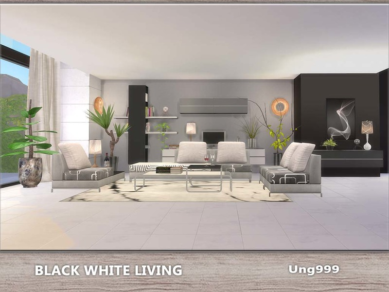Ung999 39 s black white living for Modern living room sims 4