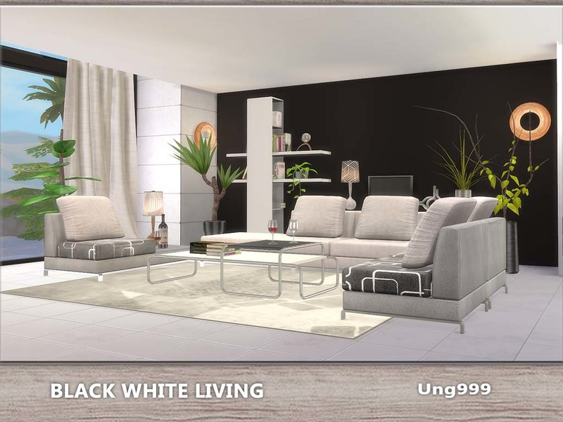Ung999 39 s black white living for Sims 4 living room ideas