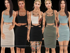 Sims 3 — The Valerie Set by winnie017 — A Coord with a simple tank crop top and two skirts, a pencil skirt and a midi