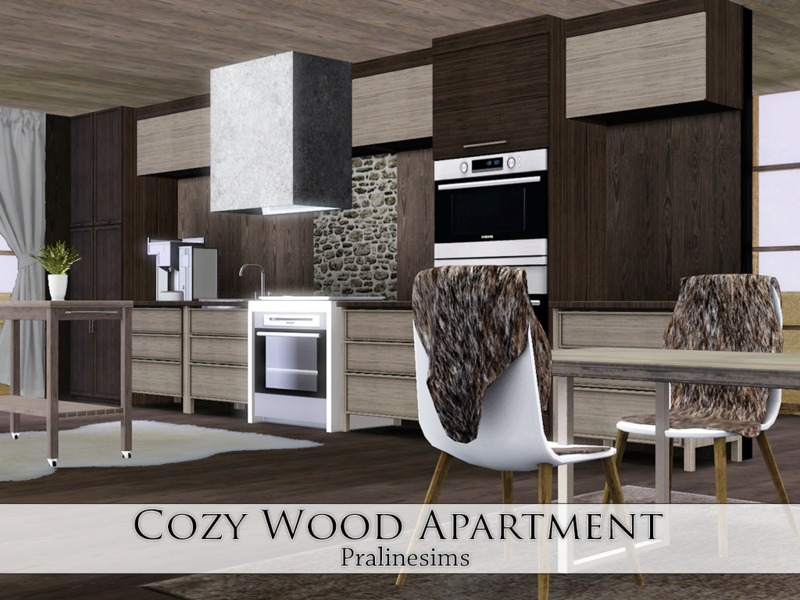 Pralinesims' Cozy Wood Apartment