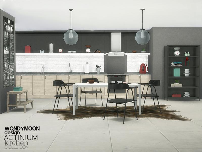 Wondymoon 39 s actinium kitchen for Kitchen set sims 4