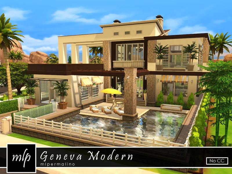 Mlpermalino 39 s geneva modern for Big modern house sims 4