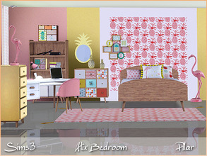 Sims 3 — Alix Bedroom by Pilar — Refreshing youth bedroom in tropical colors