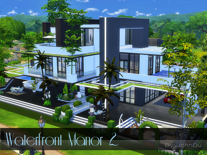 Johndu 39 s waterfront manor 2 for Modern house design the sims 4