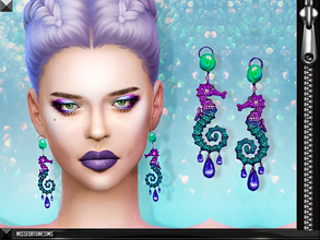 Sims 4 — MFS Seahorse Earrings by MissFortune — 100% Meshed by me - Standalone - HQ mod compatible - 5 colors - custom