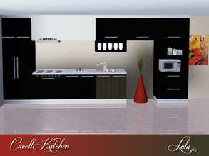 Sims 3 — Cavell Kitchen by Lulu265 — A modern kitchen that can be organized into many variations Fully CAStable