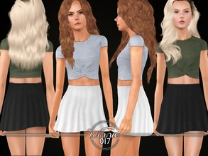 Sims 3 — Knotted Top & Skater Skirt (Teens) by winnie017 — Set of a simple crop top with a knot and a short, high