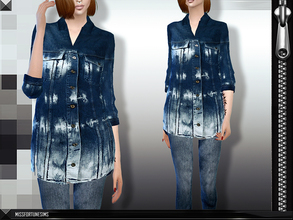 Sims 4 — MFS Denim Outfit by MissFortune — Standalone, custom thumbnail, 4 colors.