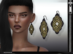 Sims 4 — MFS Abstract Earrings by MissFortune — 100% meshed by me - Standalone - 2 colors - HQ mod compatible - custom