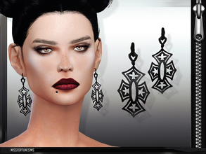 Sims 4 — MFS Gothic Earrings by MissFortune — 100% meshed by me - Standalone - 3 colors - HQ mod compatible - custom