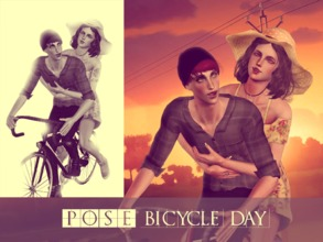 Sims 3 — Bicycle Day Poses by Storia_Studios — Hello! It's my first pose and is about a couple on a happy bike ride and
