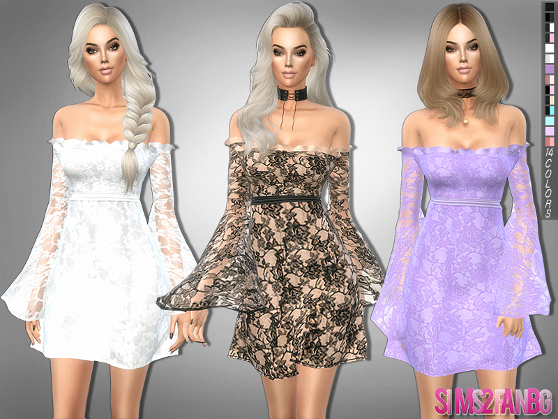 sims2fanbg's 229 - Lace dress with transparent sleeves