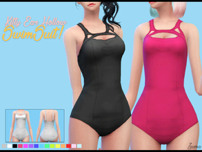 Sims 4 — Yume - Kitty Ear Hollow Swimsuit by Zauma — Hello! :) New swimsuit one piece with kitty ear holes for females