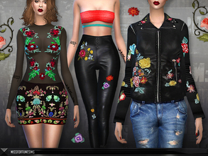Sims 4 — MFS EMB Collection - Clothing by MissFortune — Here you can download Bodysuit, pants, skirt and jacket. These