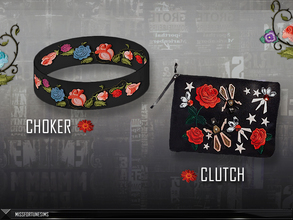 Sims 4 — MFS EMB Collection - Accessories by MissFortune — Here you can download Choker and Clutch. These items are part