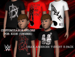 Sims 3 — WWE Dean Ambrose T-Shirt 5Pack for Kids by Downy Fresh — The Lunatic Fringe Dean Ambrose! High Quality,