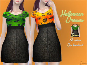 Sims 4 — Yume - Halloween Dresses by Zauma — Hello! :) Today i have more Halloween cc, this time some casual dresses with