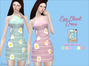 Sims 4 — Yume - Egg short dress by Zauma — Hello! I made some random dresses, casual with strikes and some eggs.