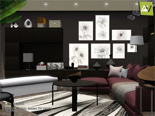 Artvitalex 39 s svelsta living room tv units for Sims 4 living room ideas