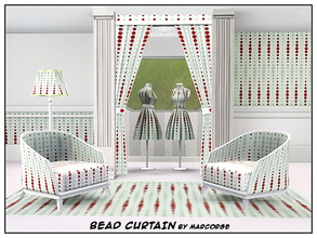Sims 3 — Bead Curtain_marcorse by marcorse — Geometric pattern: vertical dot design in red and green