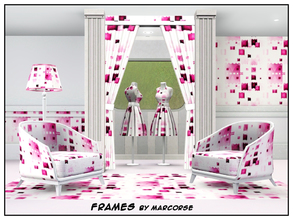 Sims 3 — Frames_marcorse by marcorse — Geometric pattern: random frame shapes in lipstick pink shades
