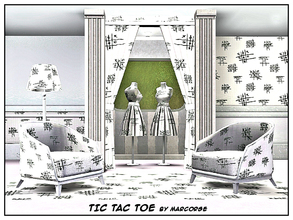 Sims 3 — Tic Tac Toe_marorse by marcorse — Geometric pattern: classic black and white noughts and crosses games