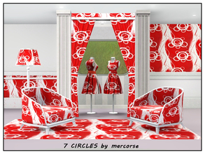 Sims 3 — 7 Circles_marcorse by marcorse — Geometric pattern: 7 circle shapes and random streamers in scarlet and white