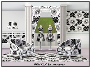 Sims 3 — Prickly_marcorse by marcorse — Geometric pattern: prickly concentric circles in black and white