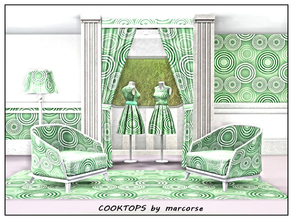 Sims 3 — Cooktops_marcorse by marcorse — Geometric pattern: stylised cooktop elements in green and white