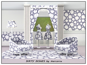 Sims 3 — Dirty Dishes_marcorse by marcorse — Geometric pattern: kitchen hand wanted - pile of blue banded dirty dishes.