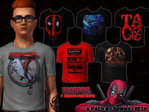 Sims 3 — Marvel's Deadpool T-Shirts for Guys by Downy Fresh — Six High Quality Deadpool shirts for your Sims 3 guys