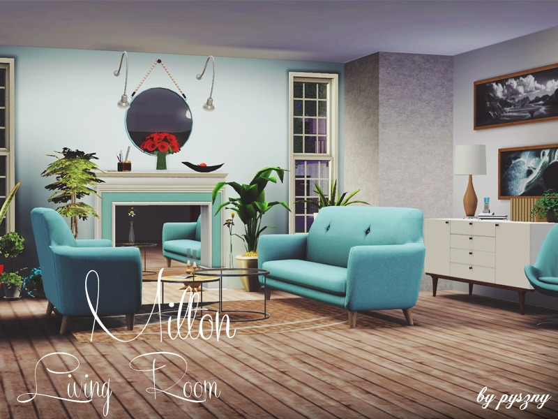 Pyszny16 39 s milton living room for Modern living room sims 4