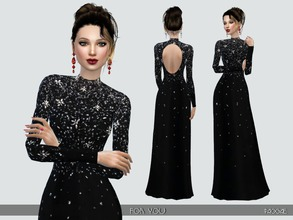 Sims 4 — ForYou by Paogae — Elegant and classy long black dress, glittering embroidery and uncovered back. Categories: