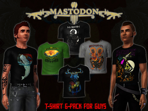 Sims 3 — Mastodon T-Shirt 6 Pack for Guys by Downy Fresh — Six different High-Quality Mastodon band T-shirts for your