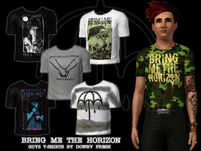 Sims 3 — Bring Me The Horizon T-Shirts for guys by Downy Fresh — Six high quality band T-shirts for your metalhead sims!