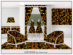 Sims 3 — Chevrons_marcorse by marcorse — Geometric pattern: chevron shapes in yellow, orange and yellow on black.