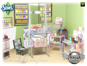 Sims 3 — the artist briefcase set by jomsims — Here For your Sims 3. New Artist corner, with the artsit's briefcase set.