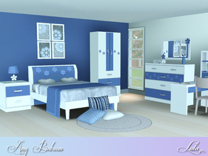 Sims 3 — Amy Bedroom Set by Lulu265 — A lovely bright bedroom for girls with a daisy theme 2 Colou options included Fully