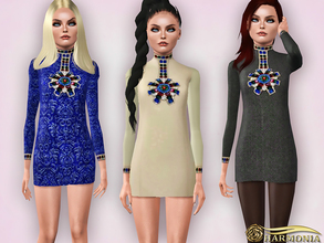 Sims 3 — TEEN ~  Jewel Embellishment Cocktail Dress by Harmonia — The high neckline and front bodice is adorned with