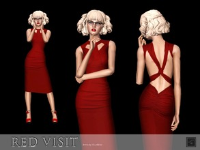 Sims 3 — Dress Red visit by Shushilda2 — Simple evening gown of matte material - new mesh - 1 recolourable channels