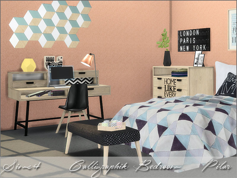 Pilar 39 s calligraphik bedroom for Bedroom designs sims 4