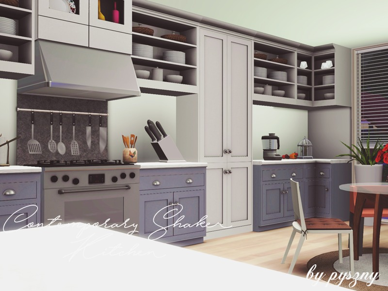Pyszny16 39 s contemporary shaker kitchen for Sims 3 kitchen designs