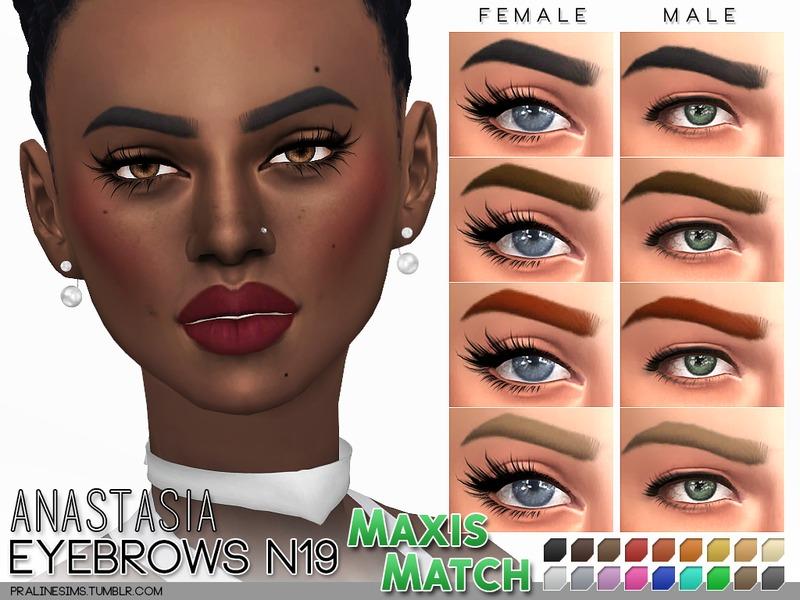 Pralinesims' Maxis Match Eyebrow Pack N02