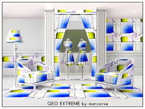 Sims 3 — Geo Extreme_marcorse by marcorse — Geometric pattern - extreme geometric design in blue, yellow and purple on