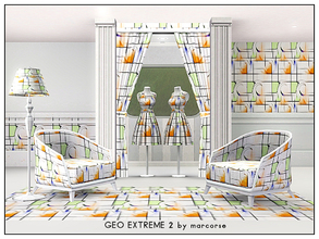 Sims 3 — Geo Extreme 2_marcorse by marcorse — Geometric pattern - extreme geometric design in orange, blue and green on