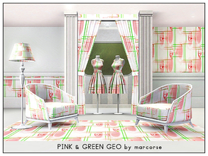Sims 3 — Pink & Green Geo_marcorse by marcorse — Geometric pattern: geometric line and circle design in pink, green