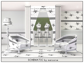 Sims 3 — Schematic_marcorse by marcorse — Geometric pattern: schematic type diagram in black on white